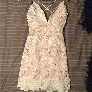 Beautiful white lace v neck dress